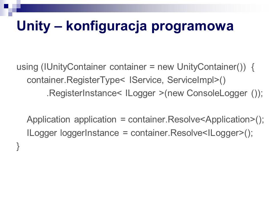 Unity – konfiguracja programowa