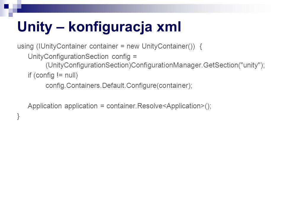 Unity – konfiguracja xml