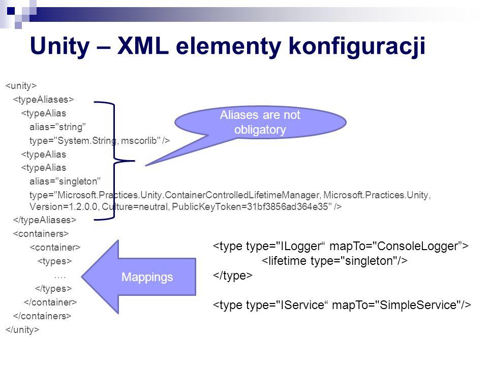 Unity – XML elementy konfiguracji