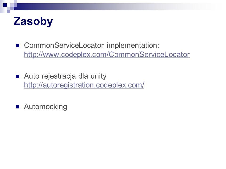 ZasobyCommonServiceLocator implementation: http://www.codeplex.com/CommonServiceLocator.