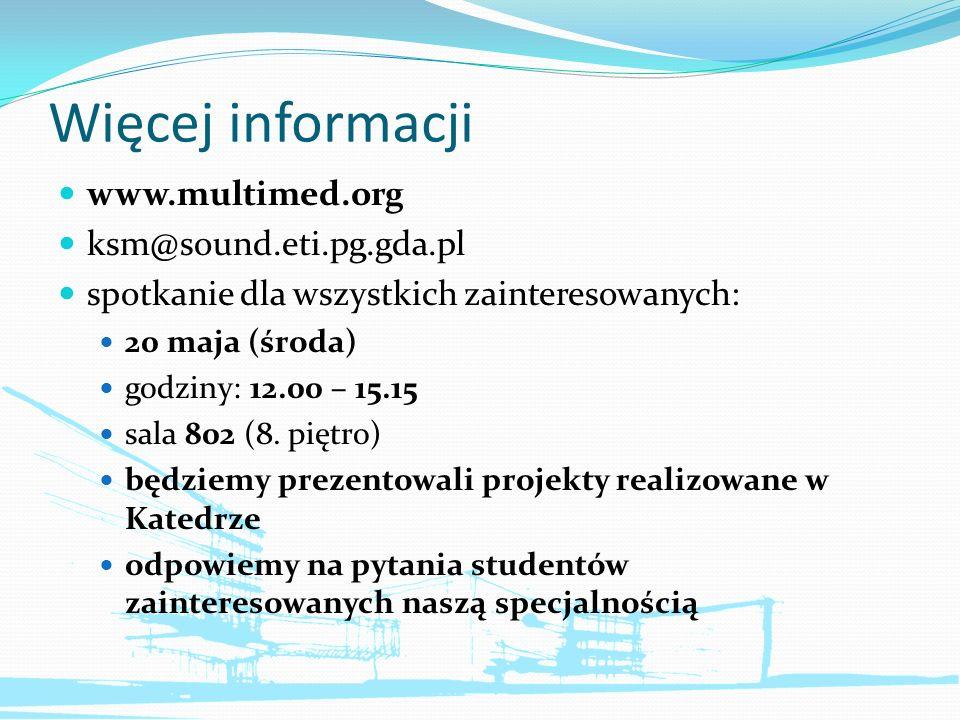 Więcej informacji www.multimed.org ksm@sound.eti.pg.gda.pl
