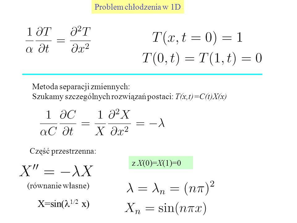 X=sin(l1/2 x) Problem chłodzenia w 1D Metoda separacji zmiennych: