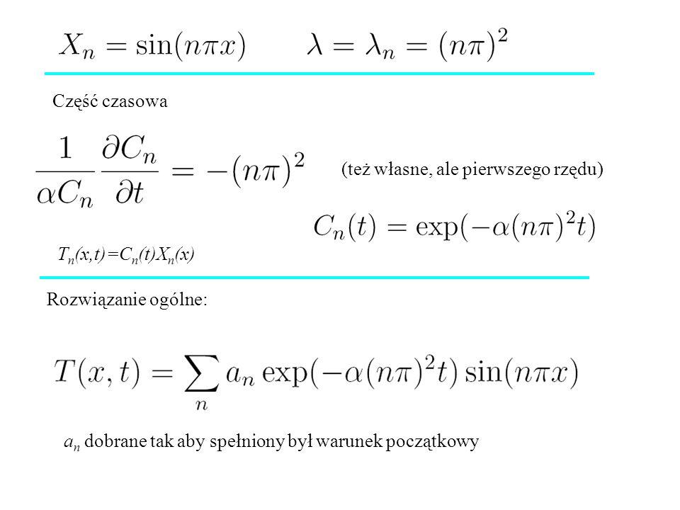 Część czasowa (też własne, ale pierwszego rzędu) Tn(x,t)=Cn(t)Xn(x) Rozwiązanie ogólne: an dobrane tak aby spełniony był warunek początkowy.