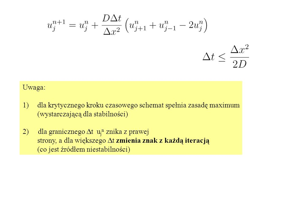 Uwaga: dla krytycznego kroku czasowego schemat spełnia zasadę maximum. (wystarczającą dla stabilności)