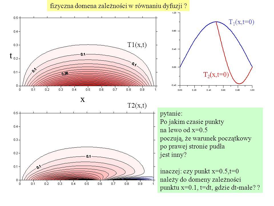 t x fizyczna domena zależności w równaniu dyfuzji T1(x,t=0) T1(x,t)