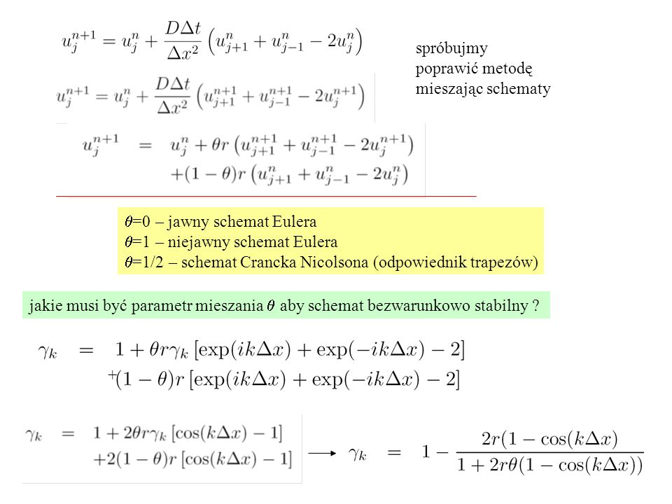 spróbujmy poprawić metodę. mieszając schematy. q=0 – jawny schemat Eulera. q=1 – niejawny schemat Eulera.