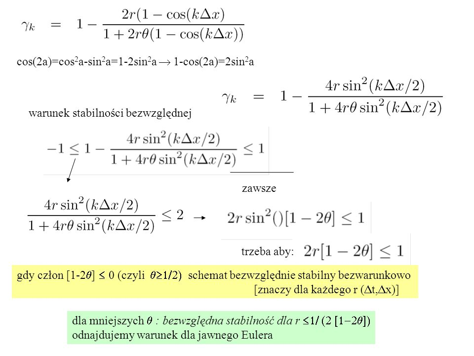 cos(2a)=cos2a-sin2a=1-2sin2a  1-cos(2a)=2sin2a