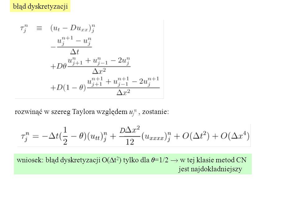 błąd dyskretyzacji rozwinąć w szereg Taylora względem ujn , zostanie: D. wniosek: błąd dyskretyzacji O(Dt2) tylko dla q=1/2  w tej klasie metod CN.