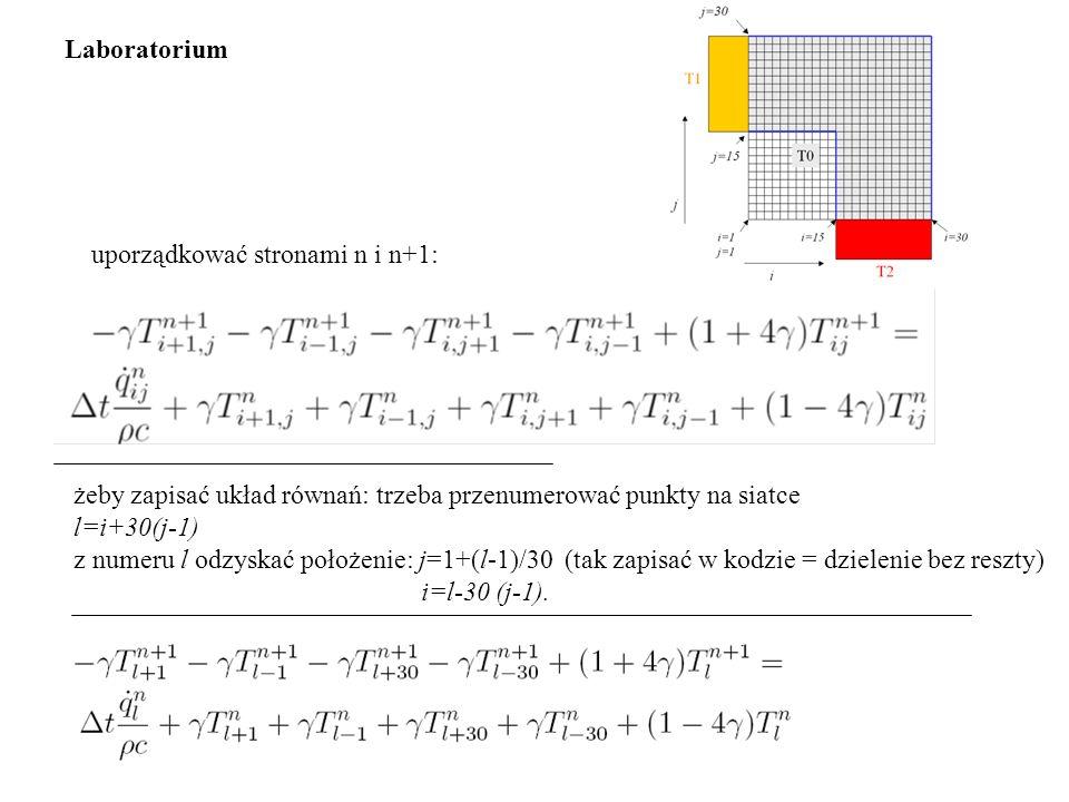Laboratorium uporządkować stronami n i n+1: żeby zapisać układ równań: trzeba przenumerować punkty na siatce.