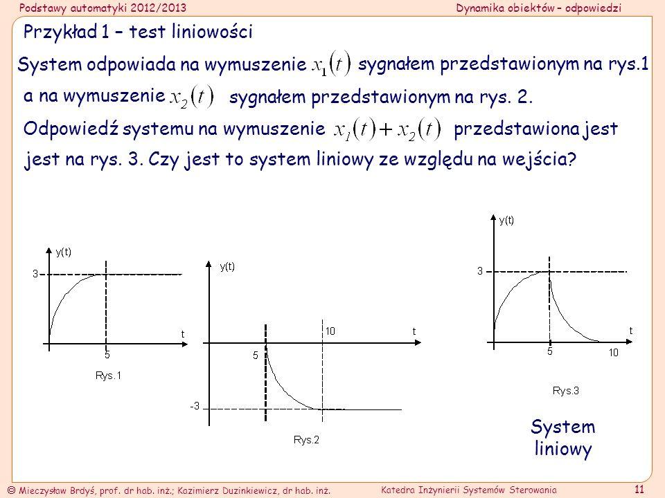 Przykład 1 – test liniowości