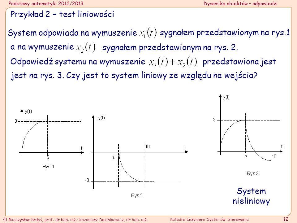Przykład 2 – test liniowości