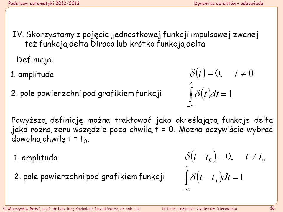 IV. Skorzystamy z pojęcia jednostkowej funkcji impulsowej zwanej też funkcją delta Diraca lub krótko funkcją delta
