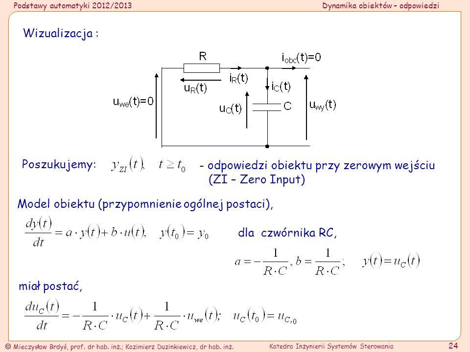 Wizualizacja : Poszukujemy: - odpowiedzi obiektu przy zerowym wejściu (ZI – Zero Input) Model obiektu (przypomnienie ogólnej postaci),