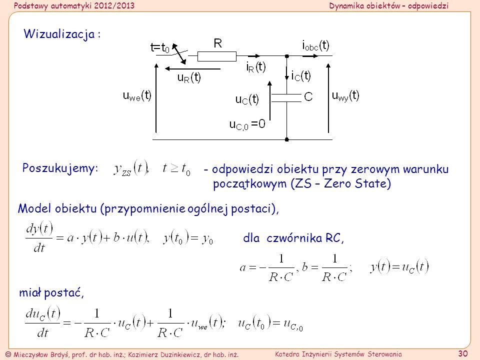 Wizualizacja : Poszukujemy: - odpowiedzi obiektu przy zerowym warunku początkowym (ZS – Zero State)