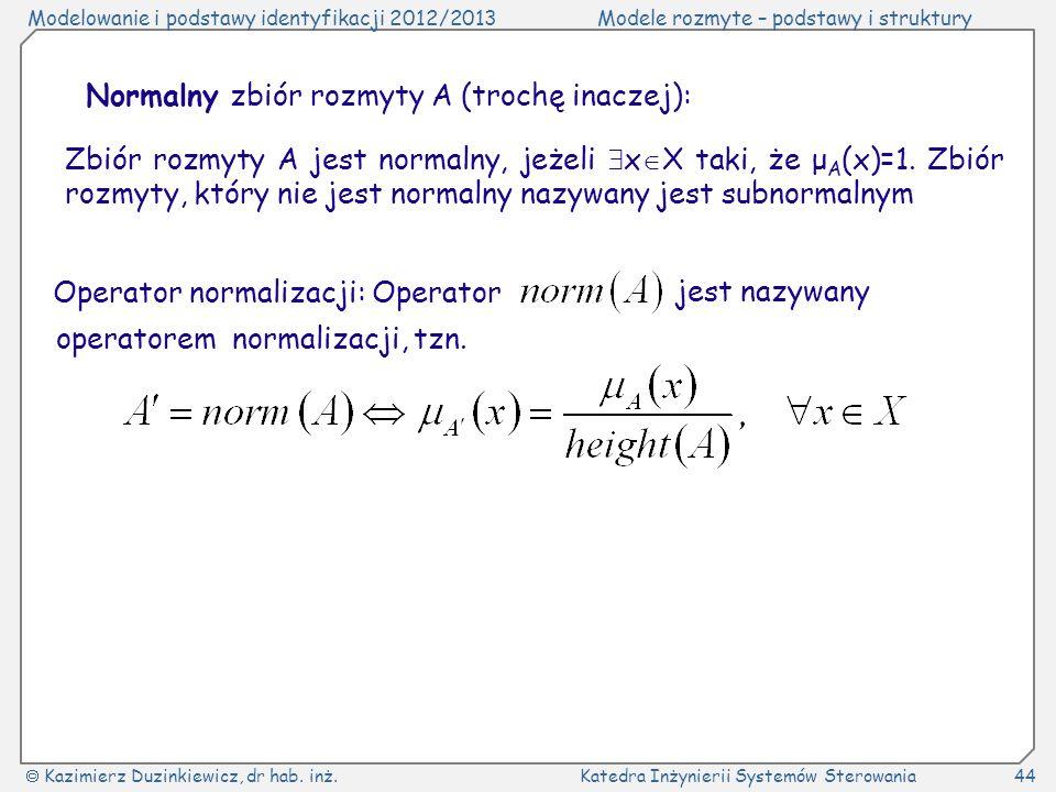 Normalny zbiór rozmyty A (trochę inaczej):