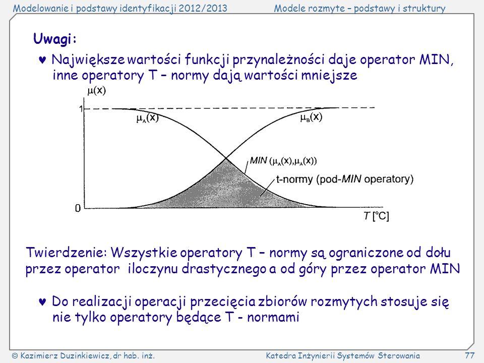 Uwagi:  Największe wartości funkcji przynależności daje operator MIN, inne operatory T – normy dają wartości mniejsze.