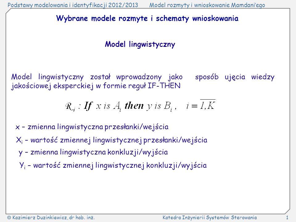 Wybrane modele rozmyte i schematy wnioskowania