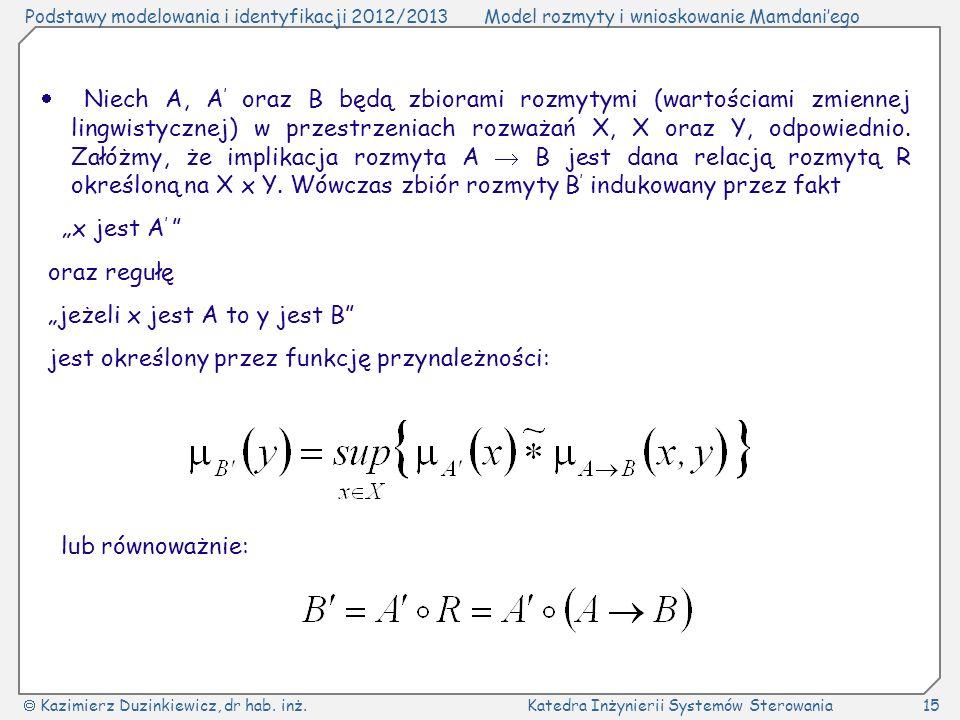  Niech A, A' oraz B będą zbiorami rozmytymi (wartościami zmiennej lingwistycznej) w przestrzeniach rozważań X, X oraz Y, odpowiednio. Załóżmy, że implikacja rozmyta A  B jest dana relacją rozmytą R określoną na X x Y. Wówczas zbiór rozmyty B' indukowany przez fakt