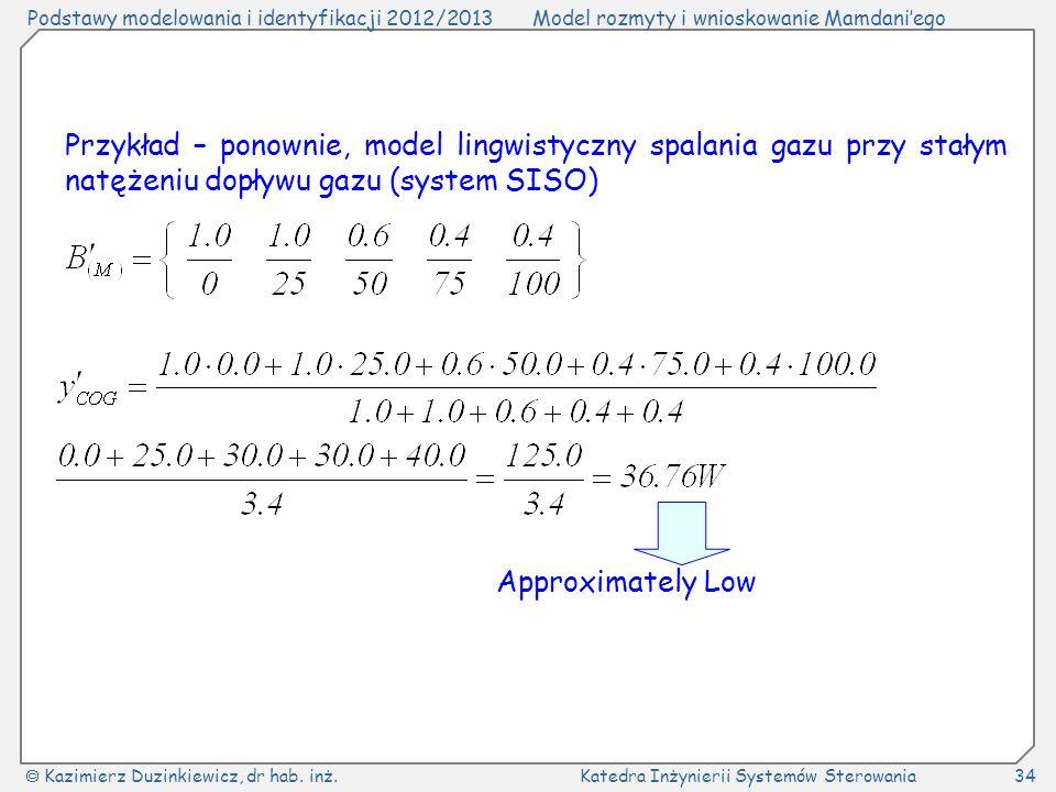 Przykład – ponownie, model lingwistyczny spalania gazu przy stałym natężeniu dopływu gazu (system SISO)