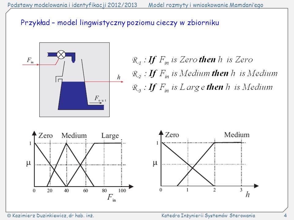 Przykład – model lingwistyczny poziomu cieczy w zbiorniku