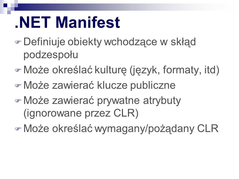 .NET Manifest Definiuje obiekty wchodzące w skłąd podzespołu