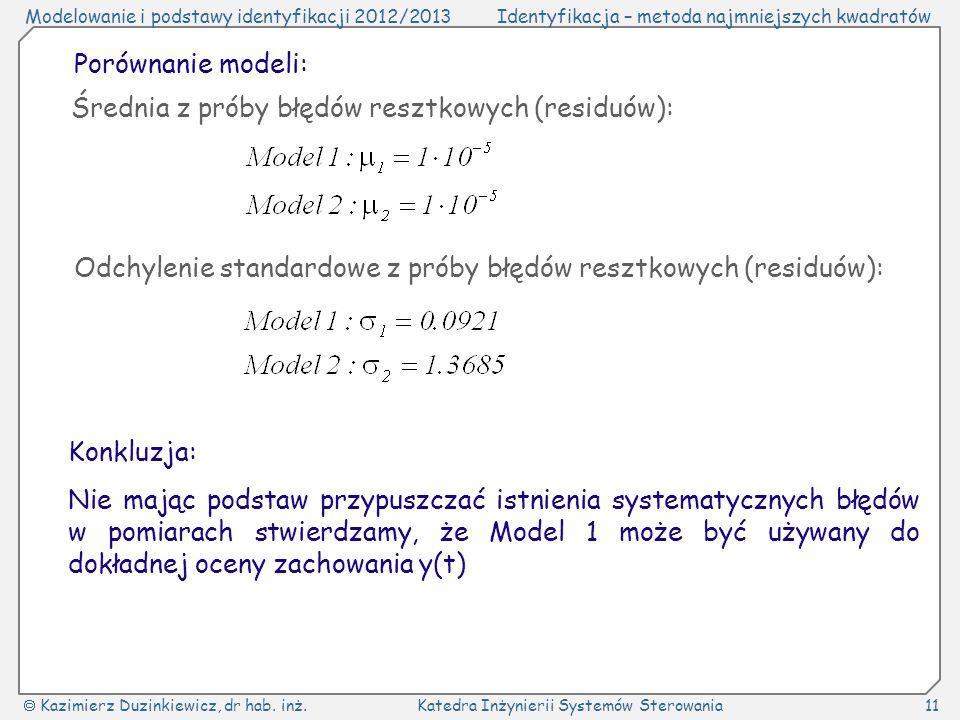 Porównanie modeli: Średnia z próby błędów resztkowych (residuów): Odchylenie standardowe z próby błędów resztkowych (residuów):