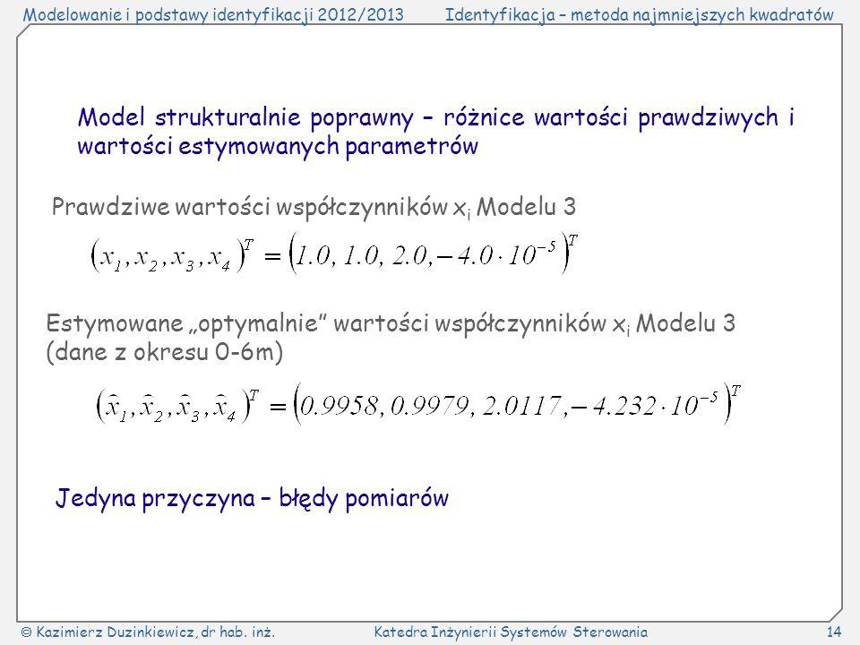 Model strukturalnie poprawny – różnice wartości prawdziwych i wartości estymowanych parametrów