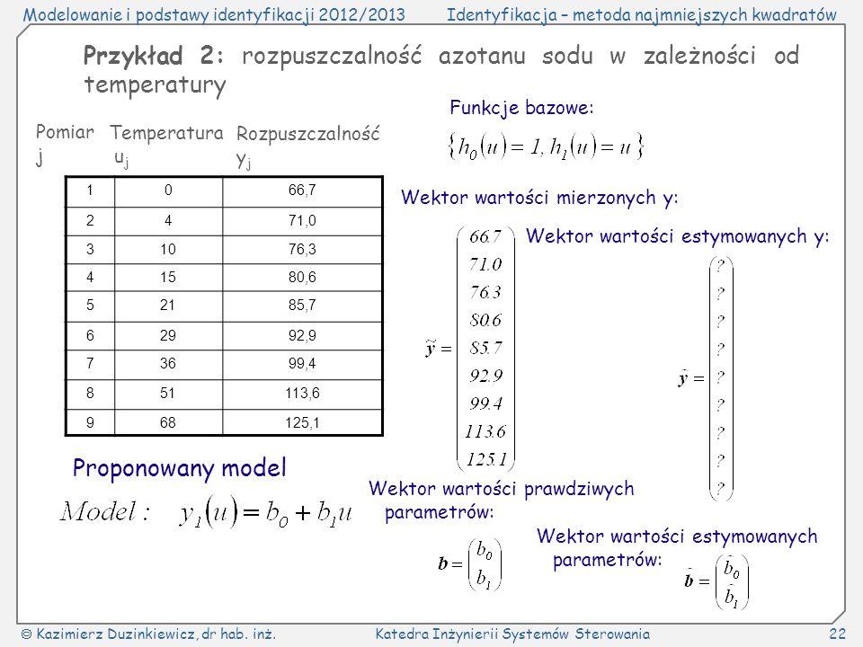 Przykład 2: rozpuszczalność azotanu sodu w zależności od temperatury
