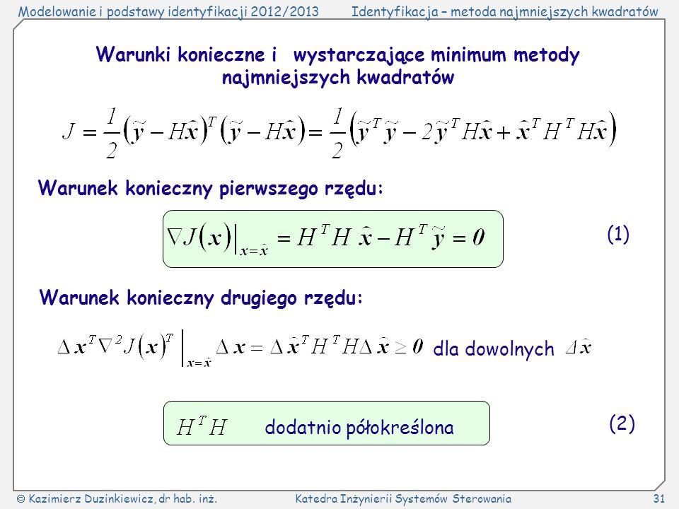 Warunki konieczne i wystarczające minimum metody najmniejszych kwadratów