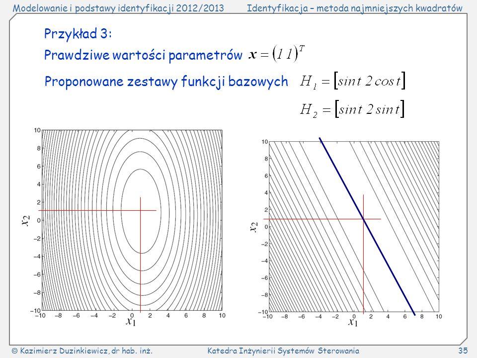 Przykład 3: Prawdziwe wartości parametrów Proponowane zestawy funkcji bazowych