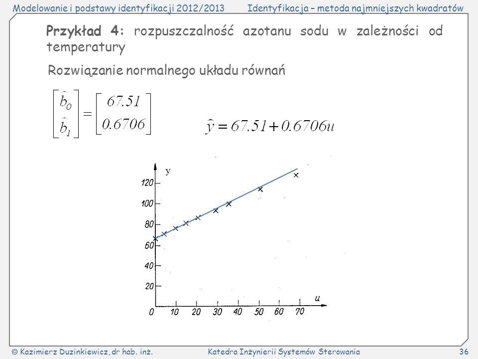 Przykład 4: rozpuszczalność azotanu sodu w zależności od temperatury