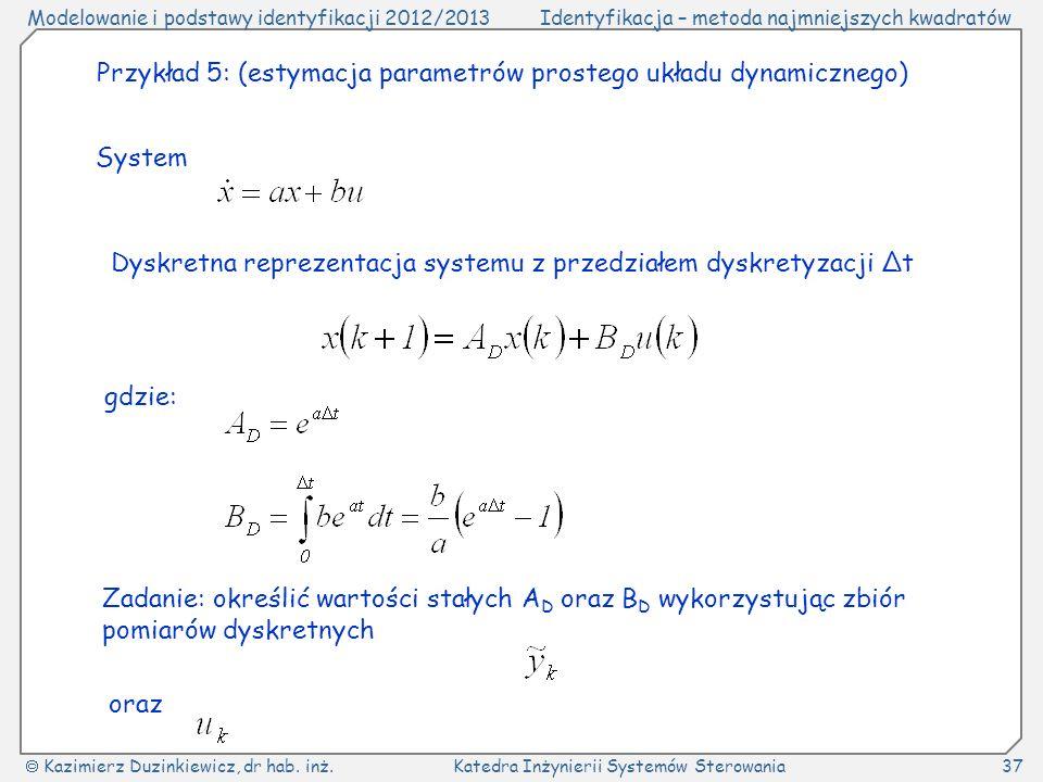 Przykład 5: (estymacja parametrów prostego układu dynamicznego)