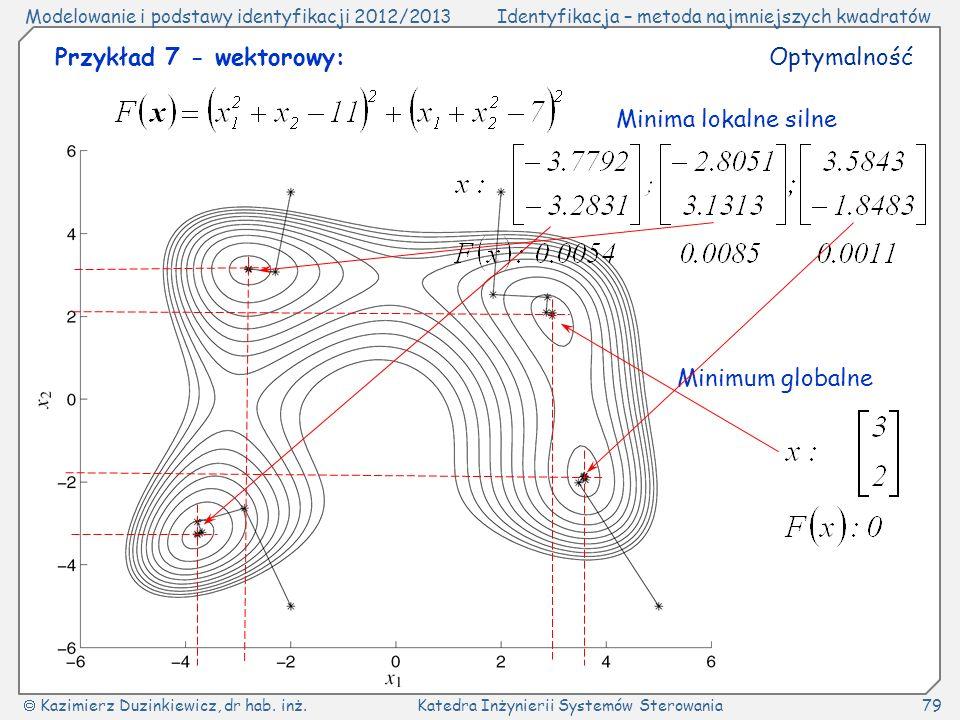 Przykład 7 - wektorowy: Optymalność Minima lokalne silne Minimum globalne