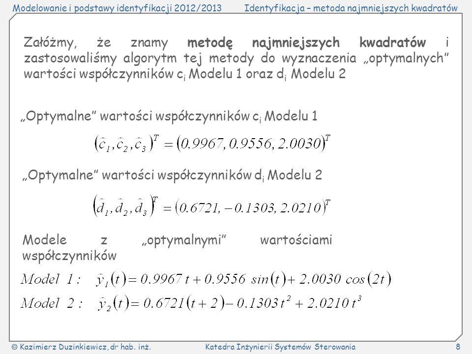 """Załóżmy, że znamy metodę najmniejszych kwadratów i zastosowaliśmy algorytm tej metody do wyznaczenia """"optymalnych wartości współczynników ci Modelu 1 oraz di Modelu 2"""