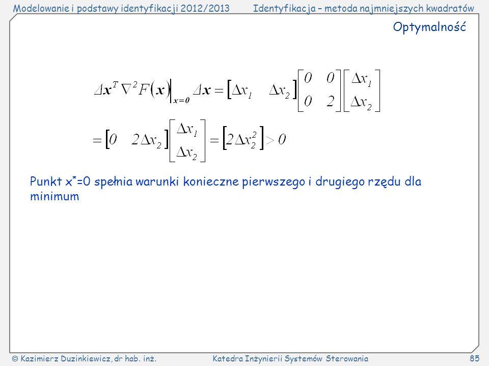 Optymalność Punkt x*=0 spełnia warunki konieczne pierwszego i drugiego rzędu dla minimum