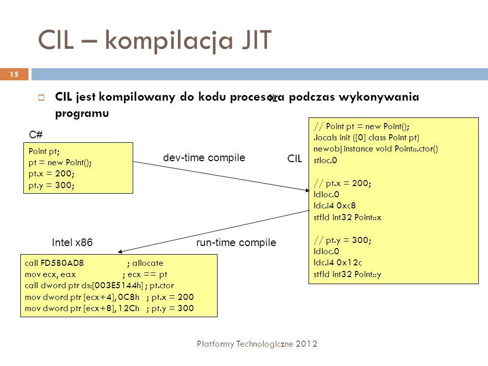 CIL – kompilacja JIT CIL jest kompilowany do kodu procesora podczas wykonywania programu. IL. // Point pt = new Point();