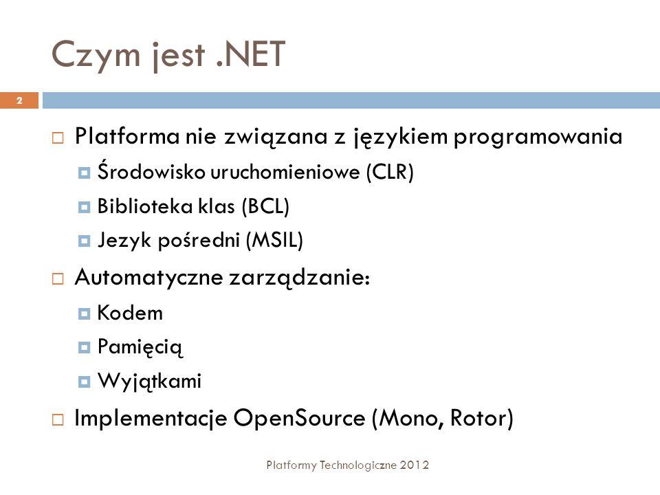 Czym jest .NET Platforma nie związana z językiem programowania