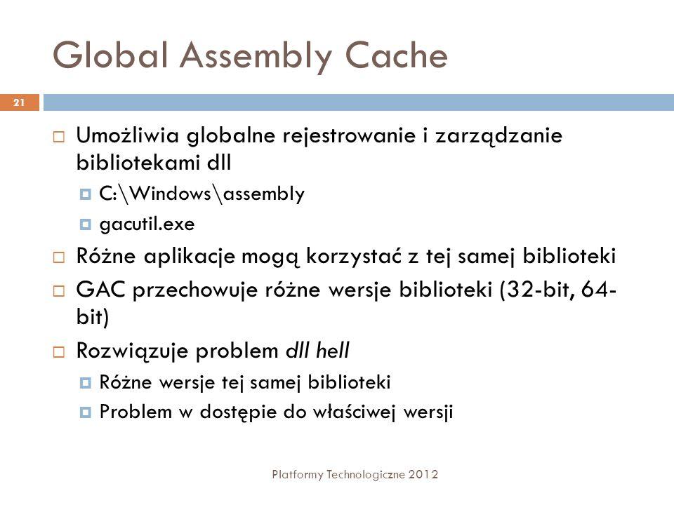 Global Assembly Cache Umożliwia globalne rejestrowanie i zarządzanie bibliotekami dll. C:\Windows\assembly.