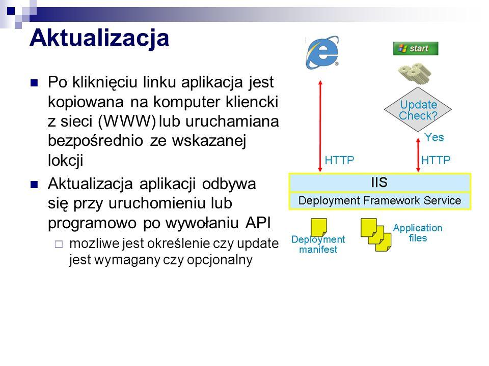 Aktualizacja Po kliknięciu linku aplikacja jest kopiowana na komputer kliencki z sieci (WWW) lub uruchamiana bezpośrednio ze wskazanej lokcji.