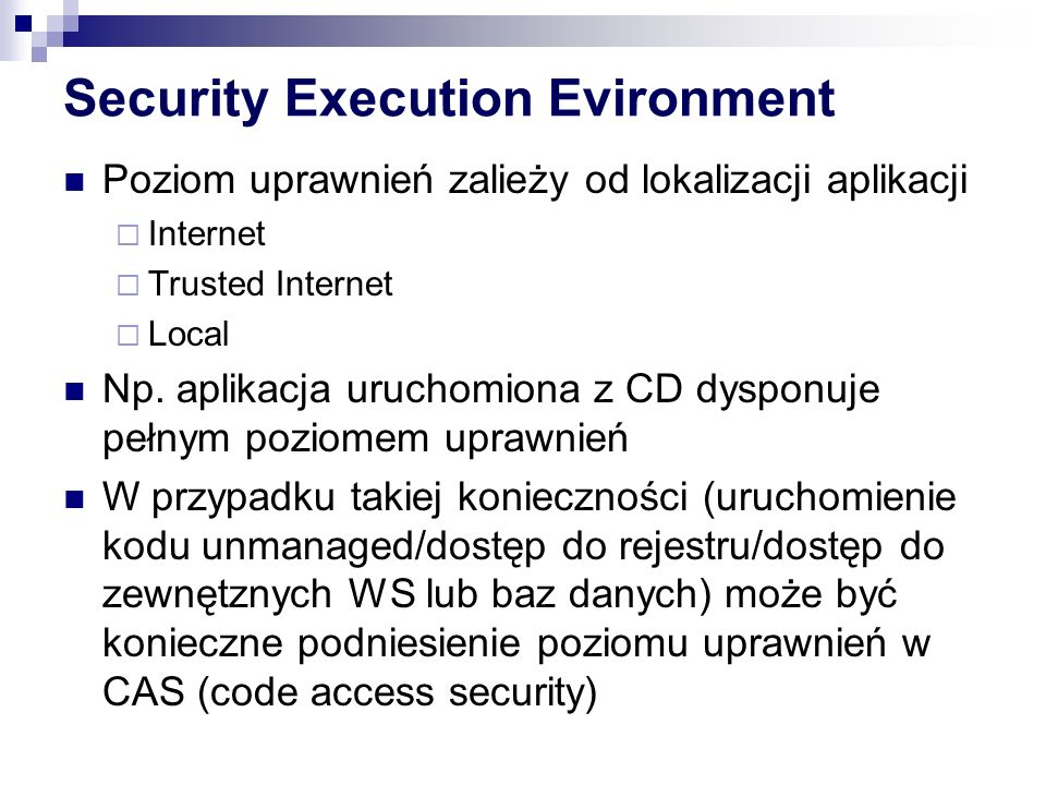 Security Execution Evironment