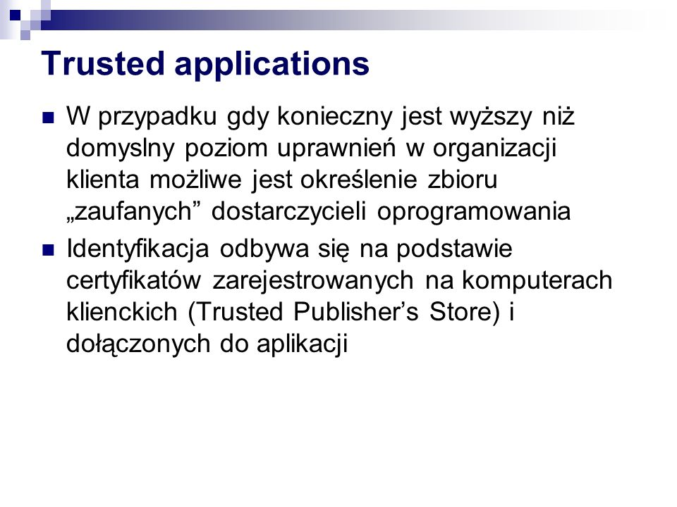 Trusted applications