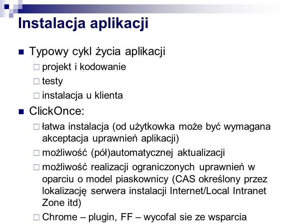 Instalacja aplikacji Typowy cykl życia aplikacji ClickOnce: