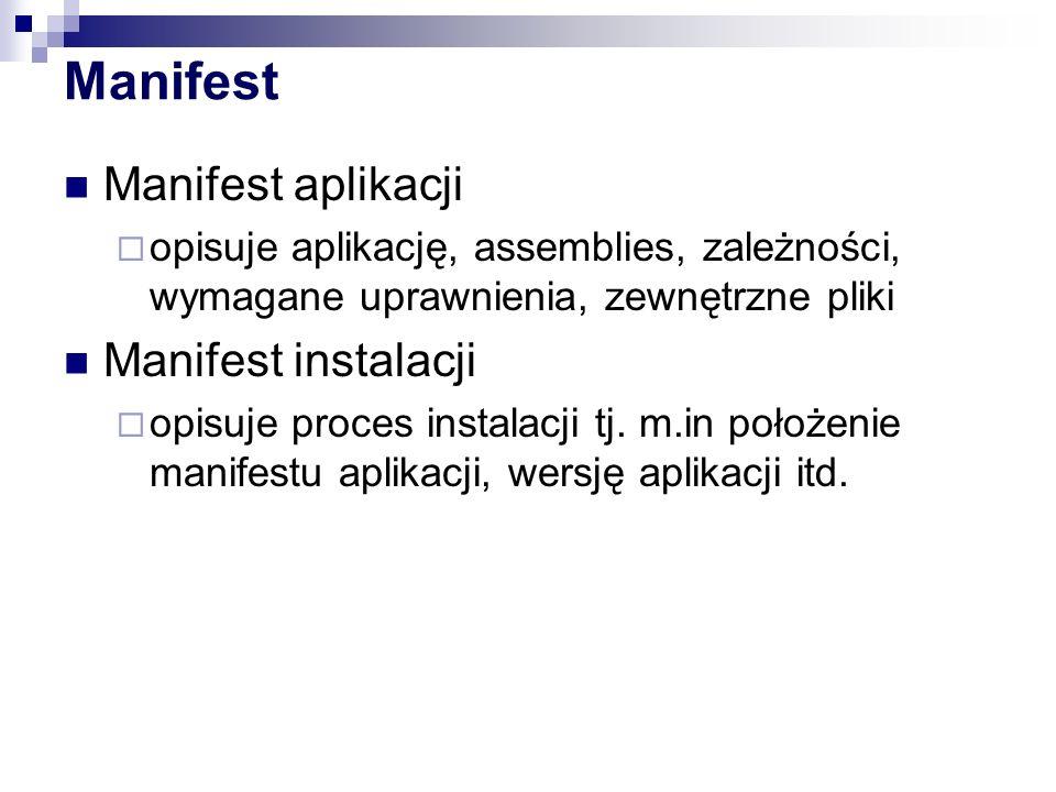 Manifest Manifest aplikacji Manifest instalacji
