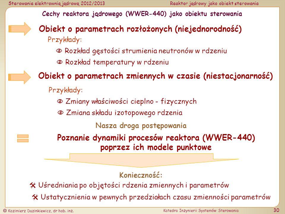 Cechy reaktora jądrowego (WWER-440) jako obiektu sterowania