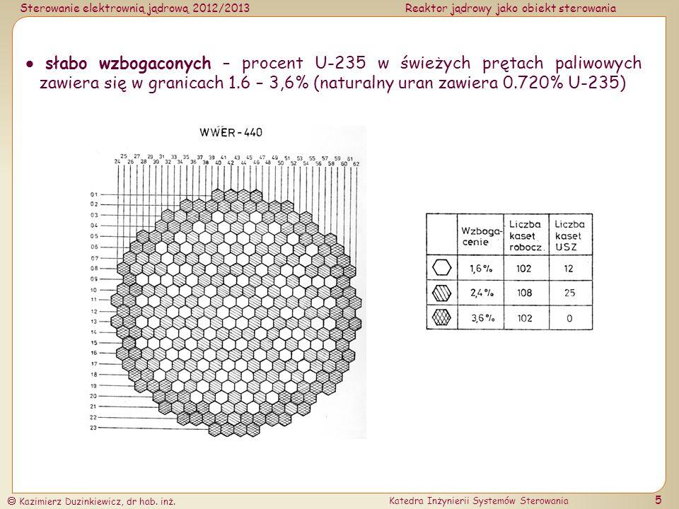  słabo wzbogaconych – procent U-235 w świeżych prętach paliwowych zawiera się w granicach 1.6 – 3,6% (naturalny uran zawiera 0.720% U-235)
