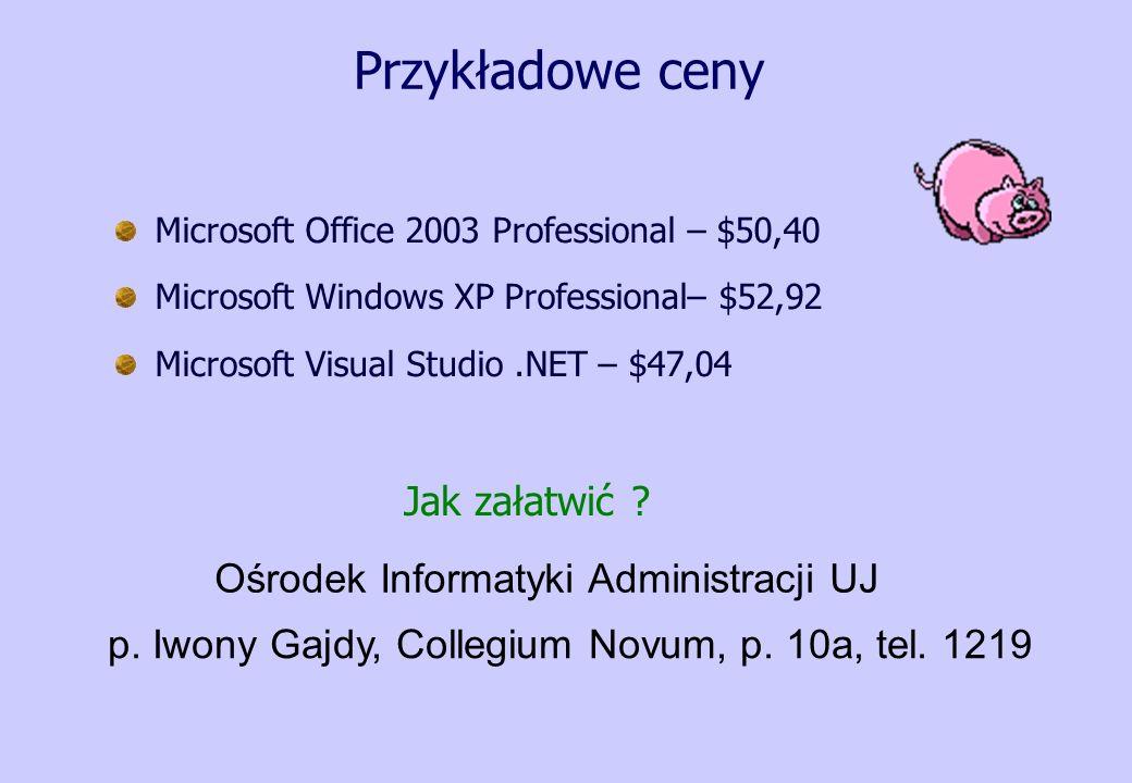 Przykładowe ceny Jak załatwić Ośrodek Informatyki Administracji UJ