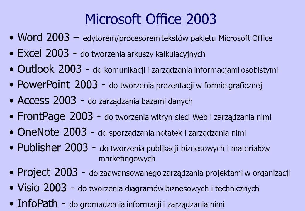 Microsoft Office 2003 Word 2003 – edytorem/procesorem tekstów pakietu Microsoft Office. Excel 2003 - do tworzenia arkuszy kalkulacyjnych.