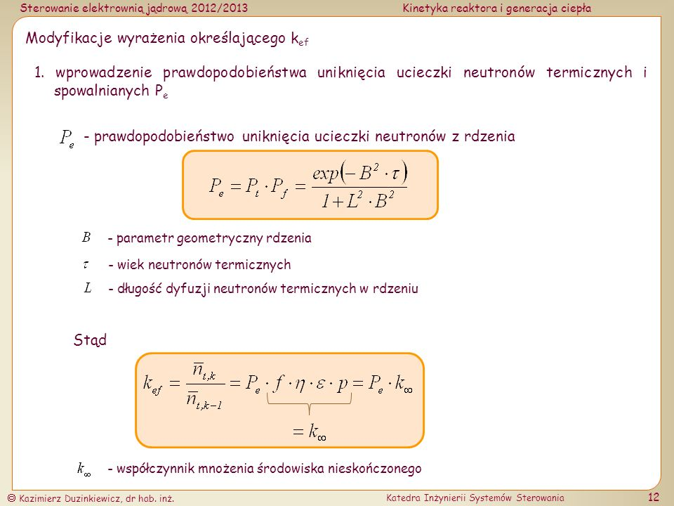 Modyfikacje wyrażenia określającego kef