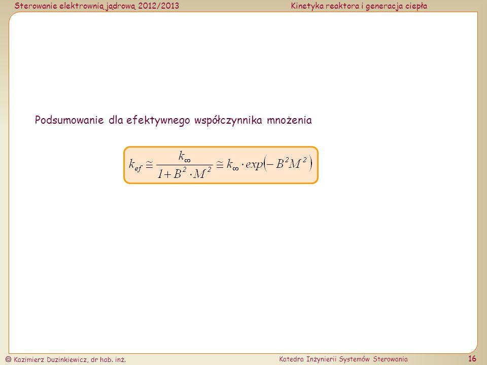Podsumowanie dla efektywnego współczynnika mnożenia