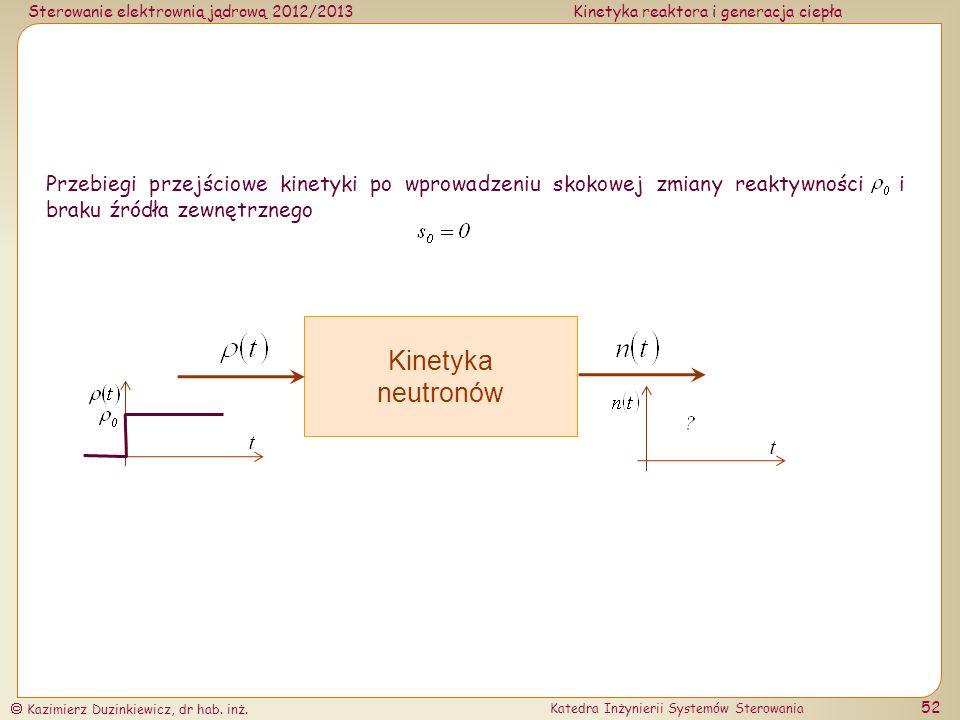 Przebiegi przejściowe kinetyki po wprowadzeniu skokowej zmiany reaktywności i braku źródła zewnętrznego